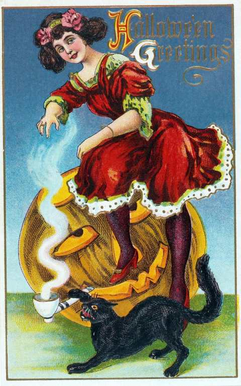Colour illustration. Halloween card. circa 1915. Young woman, pumpkin, black cat and smoking pipe.